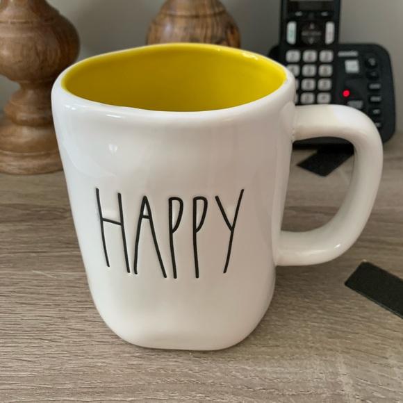 Rae Dunn Yellow Interior Happy Mug